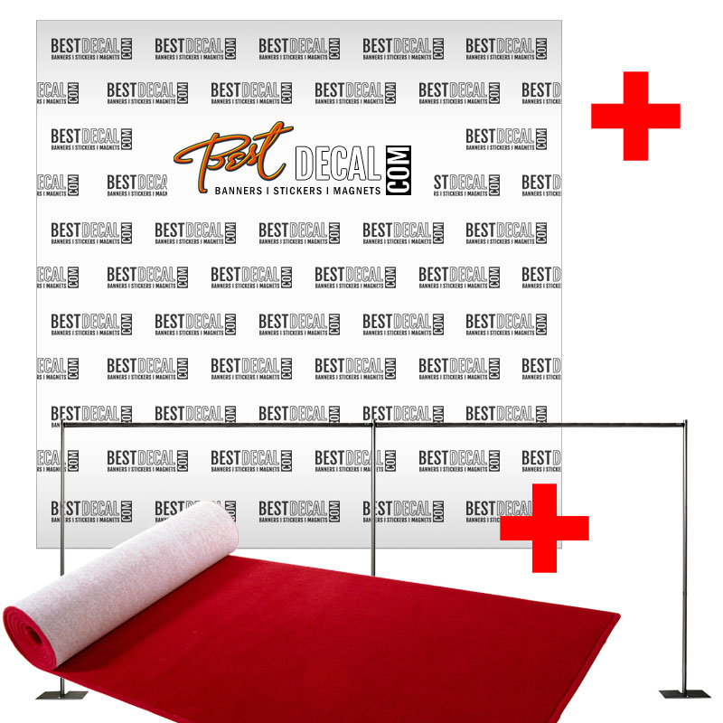 20' x 8' Step and Repeat Banner with Stand and 4' x 20' Red Carpet